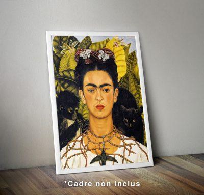 Affiche : Frida Kalho, Auto-portrait avec collier d'épines et colibri